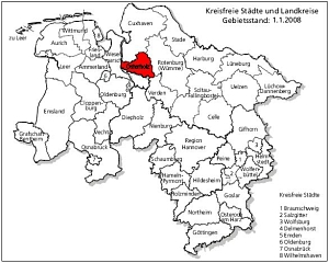 map of the rural district as part of Lower Saxony